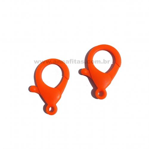 Fecho Lagosta em Plastico para Pulseira com 2 unidades  de 35mm LARANJA NEON Ref: FECH1LN