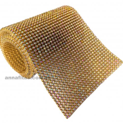 Manta de Strass Dourada FURTA COR 10 por 45 cm 1 Unidade Ref: 77