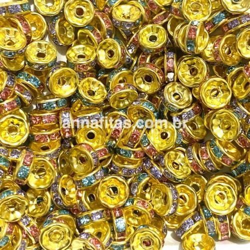 Entremeio Rondela de Strass de 8mm em acrílico com 20 unidades  Dourado e colorido Ref - ERON8C