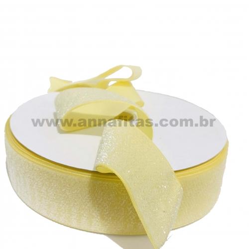 Fita Sintetica Veludo com Glitter de 38mm POR 1 METRO (Lurex Esponjada) Cor Amarelo Bebê Ref: 30