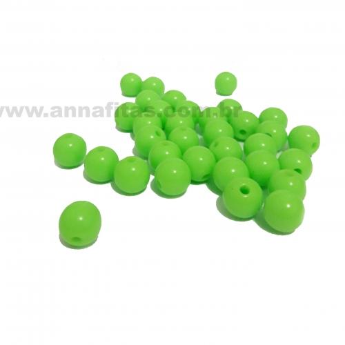 Bolas Leitosas Furo Passante de 8mm, pacote com 50 gramas, Cor- Verde Neon Ref- 17