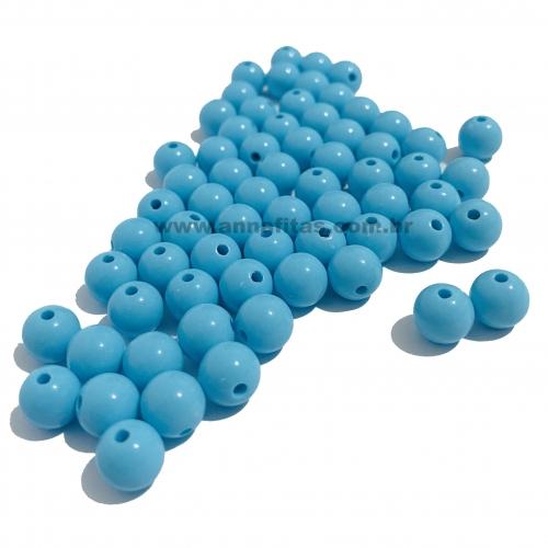 Bolas Leitosas Furo Passante de 8mm, pacote com 50 gramas, Cor- Azul Claro Ref- LEIT029