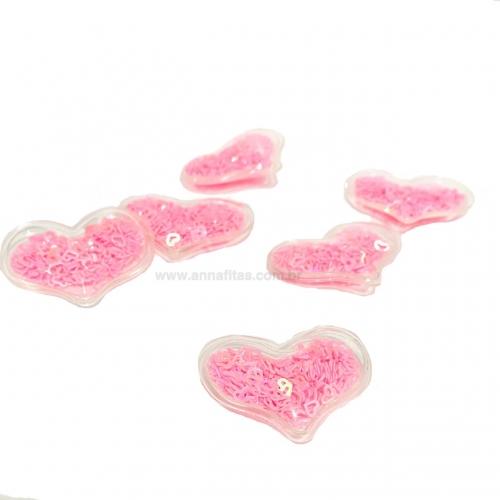 Aplique em Plástico transparente CORAÇÃO LANTEJOULAS ROSA NEON Altura de 3 x 3,9cm (Vendido por Unidade)Ref: TCO01