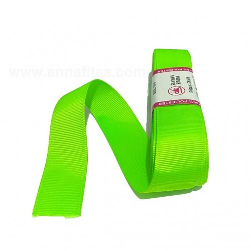 Fita de Gorgurão Sanding de 22mm com 10 Metros, Nº5 Cor - 100 Verde Neon