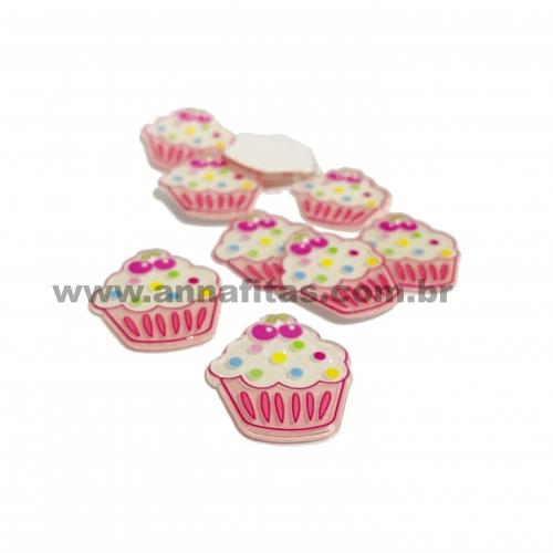 Aplique em acrílico Cupcake Rosa 3,5x3cm (Por unidade) Ref- TCOP11