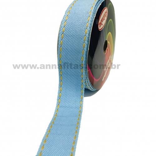 Fita Jeans Pespontada Sinimbu de 22mm Com 10 Metros Ref:1785-22 Cor- 03 Jeans Claro