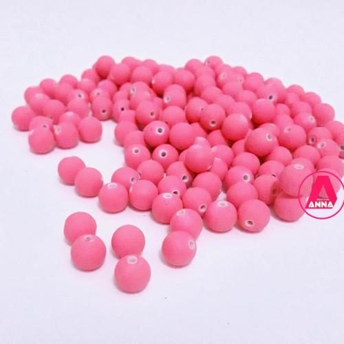 Bola Fosca Plástica emborrachadas com furo Passante Tam-8mm com 50 gramas Rosa Neon COR -621