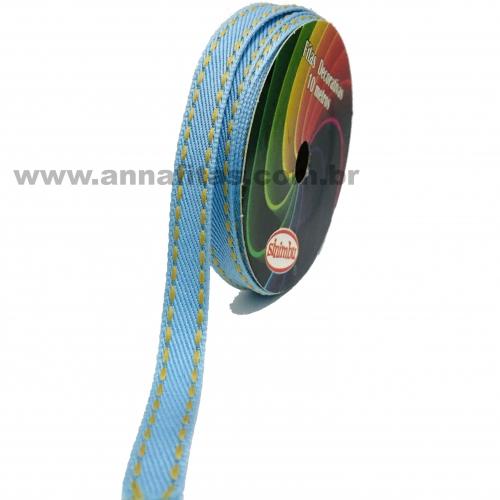 Fita Jeans Pespontada Sinimbu de 10mm Com 10 Metros Ref:1785-10 Cor- 03 Jeans Claro
