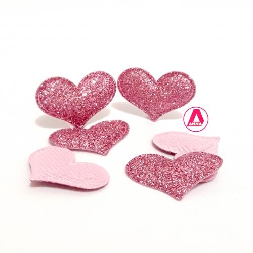 Coração com Gliter 3cm 1 Unidade