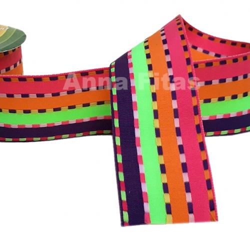 Fita Decorativa Pespontada de 38mm Com 10 Metros Colorido ROSA PINK LARANJA VERDE e ROXO Cor - 05