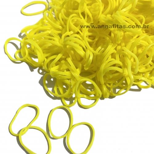Elásticos para laço Pet cor AMARELO de 1,5cm com 50 gramas Pacote aproximadamente 500 unidades
