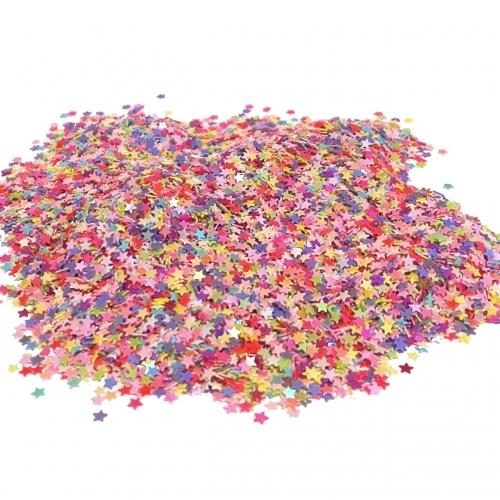 Apliques Confetes Paetê Estrela de 3mm com 15 gramas Cor COLORIDO Ref - CONF1COL