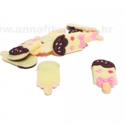 Aplique em Silicone Picolé Creme com Chocolate 35x15mm Ref-2885