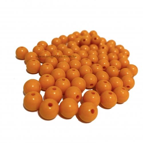 Bolas Leitosas Furo Passante de 8mm, pacote com 50 gramas, Cor- Abóbora Ref- LEIT021