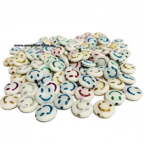 Redondo Entremeio Smile Branco com Letras 14mm Pacote de 50 gramas Ref: SMIL41