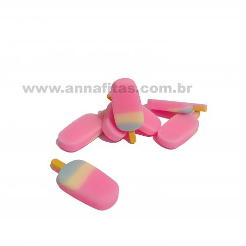 Aplique em Resina Picolé Rosa Amarelo e Azul Bebê 3,7x1,6cm Ref: TREZ08
