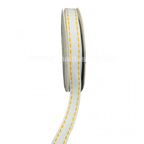 Fita Jeans Pespontada Sinimbu de 10mm Com 10 Metros Ref:1785-10 Cor- 08 Jeans BRANCO