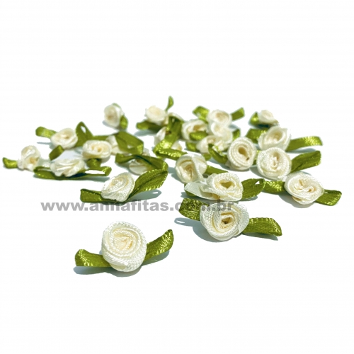 Aplique Flor de Rococó Rosas de Cetim com Folhas 1,5cm 50 unidade/ MARFIM Ref:6