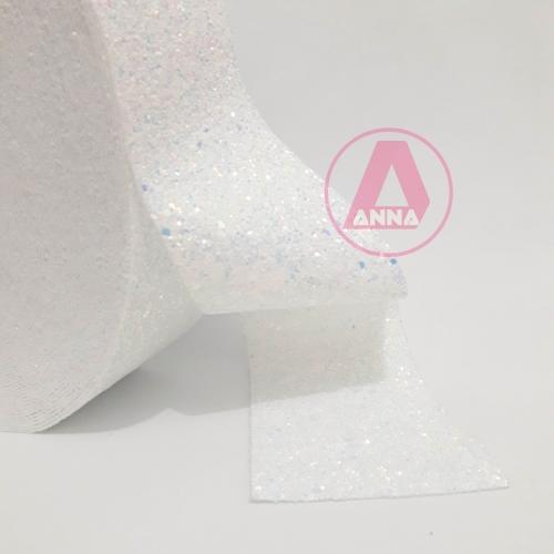 Lonita Flocada Brilhosa Branca largura 70mm por 1 Metro