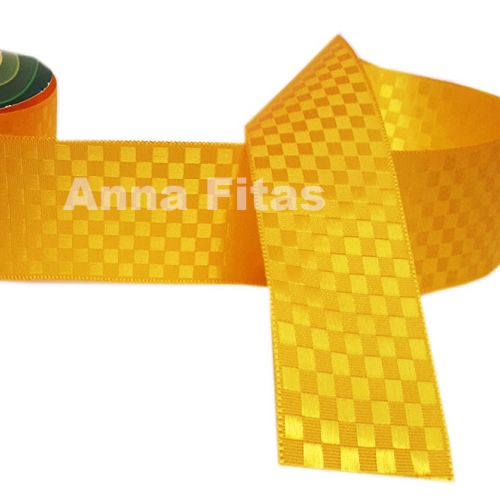 Fita de Cetim Quadriculada Sinimbu 38 mm Dupla Face 10 Metros Cor- 3093 Amarela Queimado