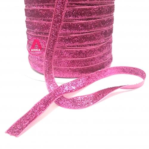 Fita de Veludo com Glitter de 10mm com 10 Metros (Lurex Esponjada) Cor Rosa Pink Ref: 04