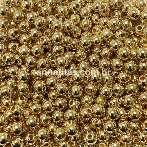 Pérolas ABS Furo Passante 6mm com 50 Gramas Cor Dourado ESCURO Brilhoso Ref: 1072
