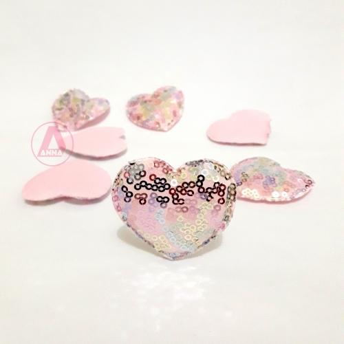 Coração Fofo com PAETÊ Para apliques, Altura 5cm, Largura 5cm  (vendido por unidade)  Cor:Coração Rosa Paitê Escuro Ref:04