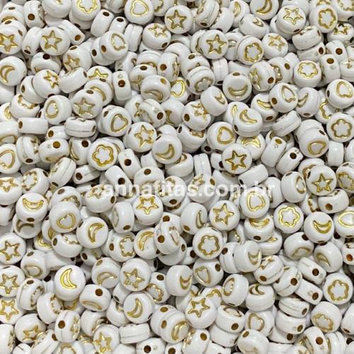 Redondos Entremeio Branco com SÍMBOLOS  DOURADO de 7mm Pacote de 50 gramas Ref: RDO111