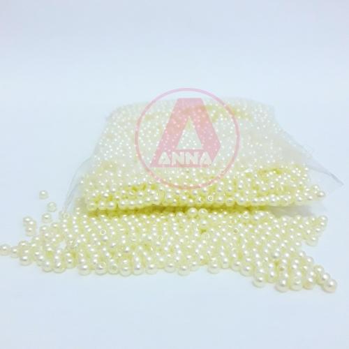 Perola ABS Furo Passante 3mm com 50 Gramas Cor Amarelo BB Ref:222