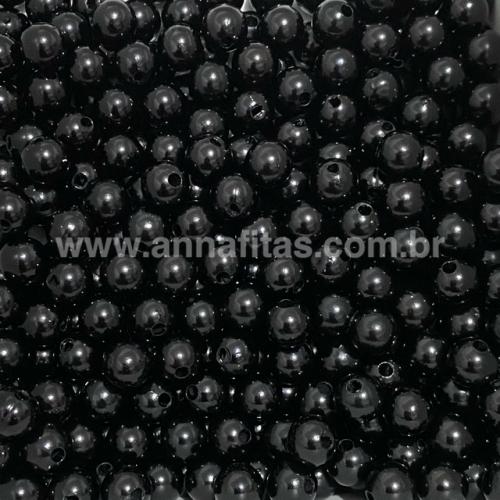 Bolas Leitosas Furo Passante de 8mm, pacote com 50 gramas, Cor- PRETA Ref- LEIT030