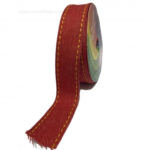 Fita Jeans Pespontada Sinimbu de 22mm Com 10 Metros Ref:1785-22 Cor- 05 Jeans VERMELHO