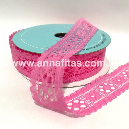 Fita de RENDA Melaço cor ROSA PINK de 22mm Com 10Metros Cor - 28