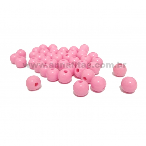 Bolas Leitosas Furo Passante de 8mm, pacote com 50 gramas, Cor- Rosa Claro Ref- LR04