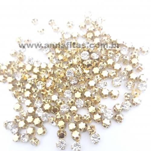 Strass de Costura de 3 garras, SS16 Dourado com Cristal , na faixa de 175 unidades pacote com 10gramas Ref :536
