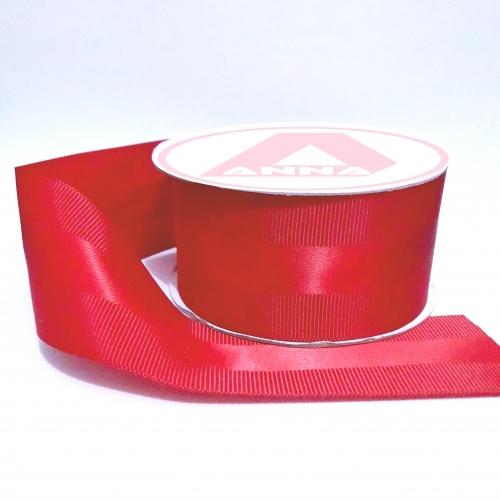Fita de GORGORÃO COM CETIM, 40mm Com 10 Metros Cor - 26 Vermelha