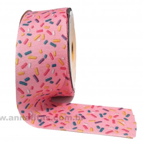 Fita Alpet de Gorgurão de 40mm com 10m Estampa Rosa com Granulados Ref- 226711