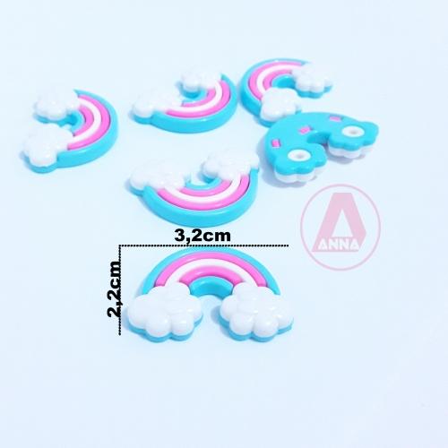 Botões Arco Iris e Nuvens Branco e Rosa Neon a Unidade cor-151