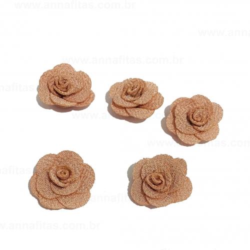 Flor de Tecido ROSÊ CLARO 5 unidades de 3cm Ref- MFG245