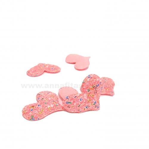 Aplique Coração Fofinho Rosa Neon com Gliter  Altura 4cm e Largura 5cm por Unidade Ref:29