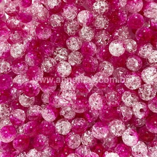 Bolas furo passante de acrílico translúcido Tie Dye CRISTAL COM ROSA PINK de 8mm com 50g Ref - BA8BRP