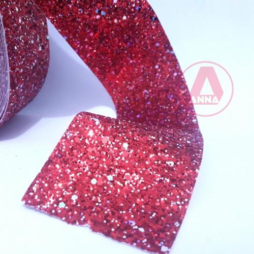 Lonita Flocada Brilhosa Vermelha largura 70mm por 1 Metro