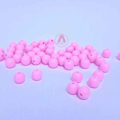 Bolas Leitosas Furo Passante de 8mm,  pacote com 50 gramas, Cor: Rosa Bebê Ref: LR07