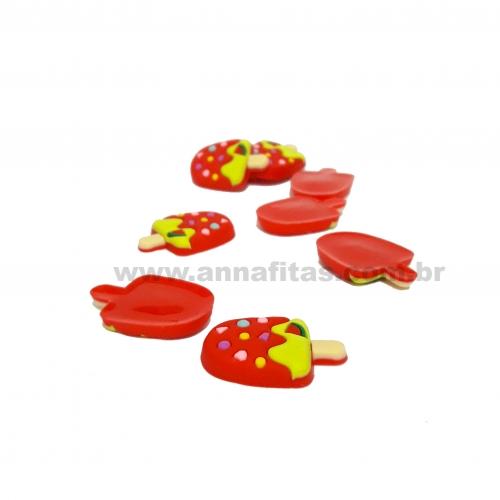 Aplique de Silicone PICOLÉ  23X27mm  1 unidade Cor - Vermelho com Verde e granulado colorido