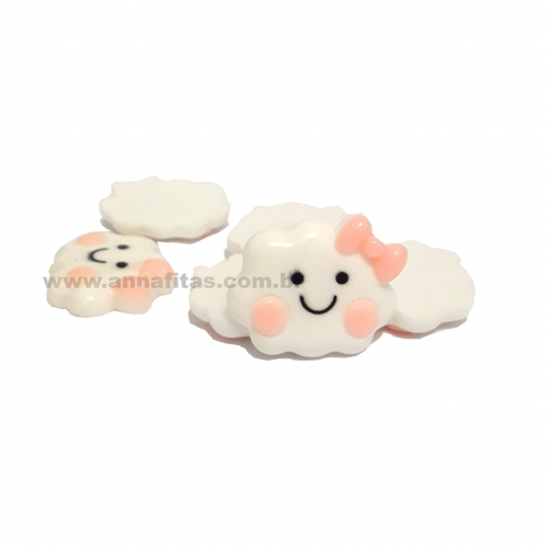 Aplique de Nuvens Plastico Branco com Rosa BB 3X3mm