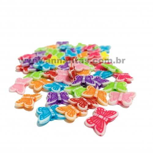 Borboleta Furo Passante em Plastico de 11x14mm Com 50 gramas Coloridas Ref: BOR103