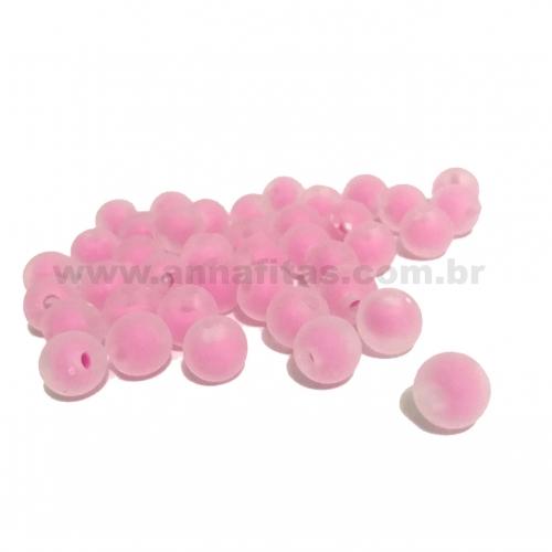 Bolas Translucidas Furo Passante com cor no Centro de 8mm, pacote com 50 gramas, Cor- Rosa Claro Ref- 230