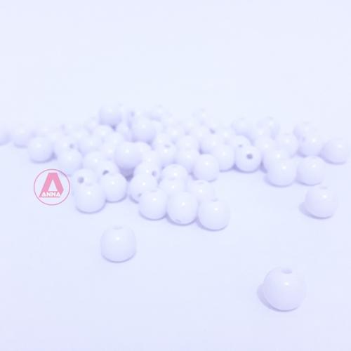 Bolas Leitosas Furo Passante de 8mm,  pacote com 50 gramas, Cor: Branca Ref: LR01