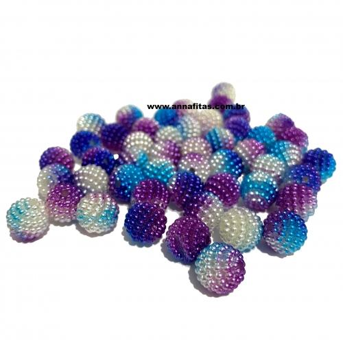 Perolas Craquelada Redondas TIE DYE de 10mm em ABS Pacote com 50g Roxo e Azul Ref: CRAQ23T
