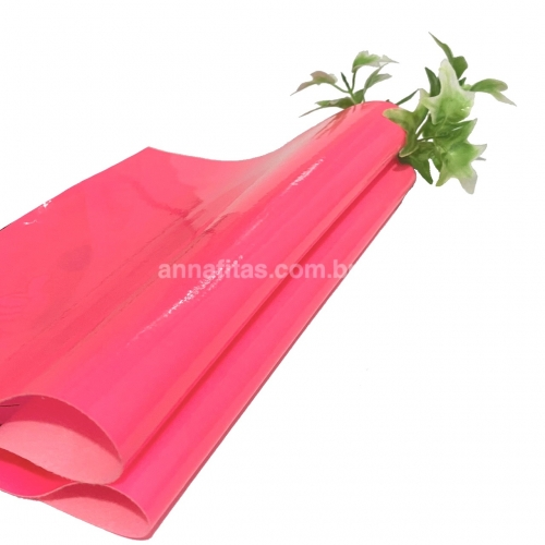 Lonita couro ecológico Verniz cor ROSA NEON 24 por 40 cm Cor: 52