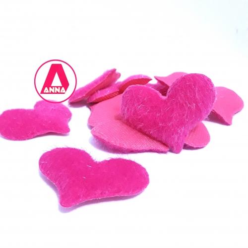 Coração Felpudo Altura 40 e Largura 50 Pink Unidade Ref:31